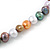 8mm Multicoloured Oval Freshwater Pearl Necklace In Silver Tone - 39cm L/ 4cm Ext - view 5