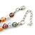 8mm Multicoloured Oval Freshwater Pearl Necklace In Silver Tone - 39cm L/ 4cm Ext - view 4
