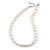 12mm Rice Shaped White Freshwater Pearl Necklace In Silver Tone - 41cm L/ 6cm Ext - view 9