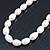 12mm Rice Shaped White Freshwater Pearl Necklace In Silver Tone - 41cm L/ 6cm Ext - view 7