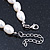 12mm Rice Shaped White Freshwater Pearl Necklace In Silver Tone - 41cm L/ 6cm Ext - view 5