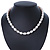 12mm Rice Shaped White Freshwater Pearl Necklace In Silver Tone - 41cm L/ 6cm Ext - view 2