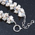 7-8mm White Baroque Freshwater Pearl, Transparent Crystal Bead Cluster Necklace - 42cm L/ 4cm Ext - view 5