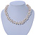 7-8mm White Baroque Freshwater Pearl, Transparent Crystal Bead Cluster Necklace - 42cm L/ 4cm Ext - view 10