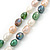 Long Rope Baroque Shape Multicoloured Freshwater Pearl Necklace - 116cm L - view 3