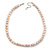 10mm Potato Shaped Lilac Freshwater Pearl With Crystal Rings Necklace In Silver Tone - 43cm L/ 6cm Ext - view 9