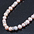 10mm Potato Shaped Lilac Freshwater Pearl With Crystal Rings Necklace In Silver Tone - 43cm L/ 6cm Ext - view 11