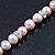 10mm Potato Shaped Lilac Freshwater Pearl With Crystal Rings Necklace In Silver Tone - 43cm L/ 6cm Ext - view 4
