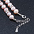 10mm Potato Shaped Lilac Freshwater Pearl With Crystal Rings Necklace In Silver Tone - 43cm L/ 6cm Ext - view 5