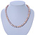 10mm Potato Shaped Lilac Freshwater Pearl With Crystal Rings Necklace In Silver Tone - 43cm L/ 6cm Ext - view 12