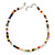 7mm Multicoloured Semi-Round Freshwater Pearl Necklace In Silver Tone - 36cm L/ 4cm Ext - view 5