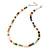 7mm Multicoloured Semi-Round Freshwater Pearl Necklace In Silver Tone - 36cm L/ 4cm Ext