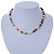 7mm Multicoloured Semi-Round Freshwater Pearl Necklace In Silver Tone - 36cm L/ 4cm Ext - view 2