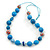 Long Sky Blue Wood and Cotton Bead Cord Necklace - 88cm L