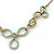 Vintage Inspired Mint Green Enamel Floral Necklace In Gold Tone - 36cm L/ 6cm Ext - view 5