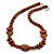Chunky Brown Wood Bead Necklace - 64cm L/ 3cm Ext