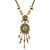 Victorian Style Filigree Oval Beaded Pendant With Chunky Chain In Antique Gold Tone - 40cm L/ 5cm Ext - view 3