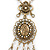 Victorian Style Filigree Oval Beaded Pendant With Chunky Chain In Antique Gold Tone - 40cm L/ 5cm Ext - view 7