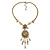 Victorian Style Filigree Oval Beaded Pendant With Chunky Chain In Antique Gold Tone - 40cm L/ 5cm Ext - view 4