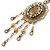 Victorian Style Filigree Oval Beaded Pendant With Chunky Chain In Antique Gold Tone - 40cm L/ 5cm Ext - view 8