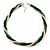 Gold/ Black/ Green Twisted Mesh Necklace - 38cm L/ 4cm Ext - view 7