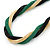 Gold/ Black/ Green Twisted Mesh Necklace - 38cm L/ 4cm Ext - view 4