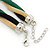 Gold/ Black/ Green Twisted Mesh Necklace - 38cm L/ 4cm Ext - view 6