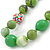 Grass Green, Olive Wood and Cotton Bead Cord Necklace - 88cm L - view 3
