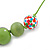 Grass Green, Olive Wood and Cotton Bead Cord Necklace - 88cm L - view 4