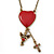 Vintage Inspired Red Enamel Heart, Angel, Cross Charm Necklace In Antique Gold Tone - 36cm L/ 7cm Ext