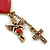 Vintage Inspired Red Enamel Heart, Angel, Cross Charm Necklace In Antique Gold Tone - 36cm L/ 7cm Ext - view 4