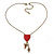 Vintage Inspired Red Enamel Heart, Angel, Cross Charm Necklace In Antique Gold Tone - 36cm L/ 7cm Ext - view 2