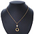Gold Tone Cut Out Heart/ Mother Of Pearl Heart Pendant with Chunky Oval Link Chain - 40cm L/ 5cm Ext - view 2