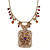 Vintage Inspired Square Shape Filigree Crystal Pendant With Burnt Tone Chain - 44cm L/ 5cm Ext - view 5
