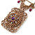 Vintage Inspired Square Shape Filigree Crystal Pendant With Burnt Tone Chain - 44cm L/ 5cm Ext - view 3