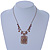 Vintage Inspired Square Shape Filigree Crystal Pendant With Burnt Tone Chain - 44cm L/ 5cm Ext - view 2