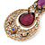 Vintage Inspired Filigree, Purple Crystal Pendant With Burnt Gold Chains - 38cm L/ 5cm Ext - view 8