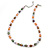 9mm Multicoloured Oval Freshwater Pearl Necklace In Silver Tone - 39cm L/ 4cm Ext