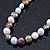 9mm Multicoloured Oval Freshwater Pearl Necklace In Silver Tone - 39cm L/ 4cm Ext - view 5