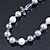 White, Grey Shell Pearls with Crystal Glass Beads Long Necklace - 80cm L - view 5