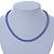 7mm Purple Acrylic Bead Necklace In Silver Tone - 37cm L