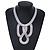 Statement Bib Style Mesh Necklace In Light Silver Tone Metal - 40cm L/ 4cm Ext/ 10cm Bib