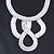 Statement Bib Style Mesh Necklace In Light Silver Tone Metal - 40cm L/ 4cm Ext/ 10cm Bib - view 9