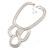 Statement Bib Style Mesh Necklace In Light Silver Tone Metal - 40cm L/ 4cm Ext/ 10cm Bib - view 2