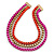 Magenta/ Brushed Gold/ Orange Square Link Layered Necklace with Magnetic Closure - 43cm L