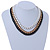 Black/ Brushed Gold/ White Square Link Layered Necklace with Magnetic Closure - 43cm L - view 6