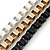 Black/ Brushed Gold/ White Square Link Layered Necklace with Magnetic Closure - 43cm L - view 3