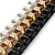 Black/ Brushed Gold/ White Square Link Layered Necklace with Magnetic Closure - 43cm L - view 7
