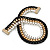 Black/ Brushed Gold/ White Square Link Layered Necklace with Magnetic Closure - 43cm L - view 8