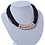 Black Waxed Cord Necklace with Silver/ Gold/ Copper Tone Metal Rings - 40cm L - view 4